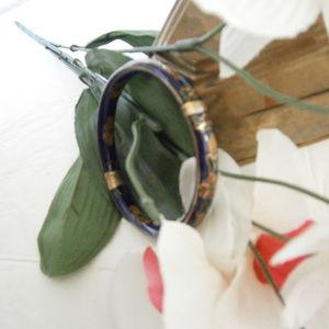 Vintage Cobalt Cloisonne Bangle Bracelet